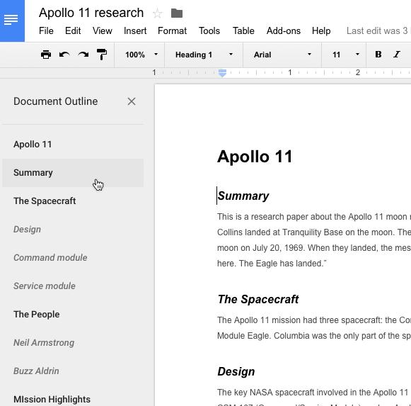 google doc outline