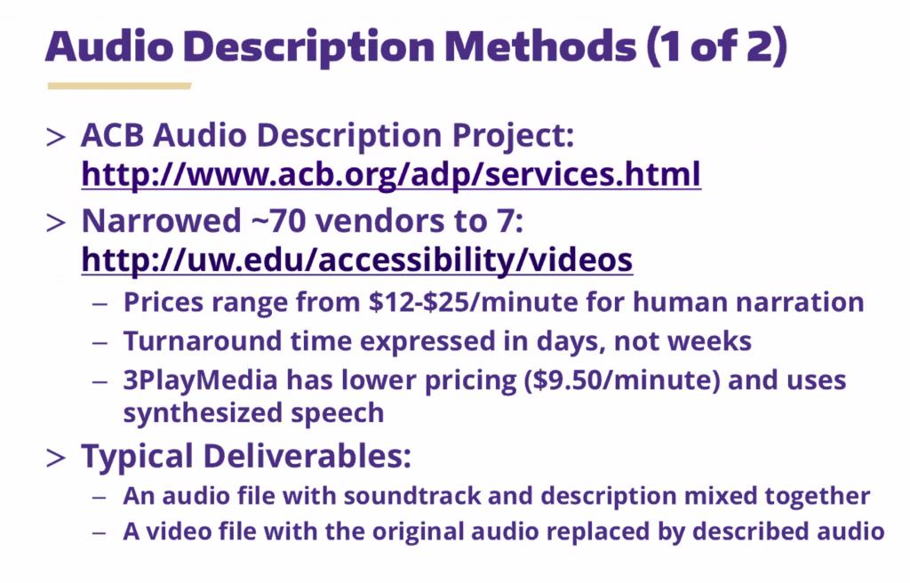audio descriptions 1 of 2